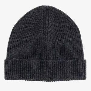 J Crew 100% CASHMERE BEANIE CHARCOAL GRAY HAT